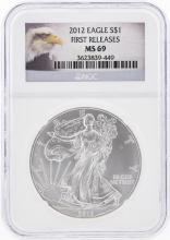 2012 $1 American Silver Eagle Coin NGC Graded MS69