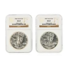 Set of (2) 1986-1987 $1 Silver Eagle Coins NGC Graded MS69