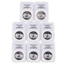 Set of (8) 2012 Lydian Mint .999 Silver 1 Troy Ounce Coins NGC Certified
