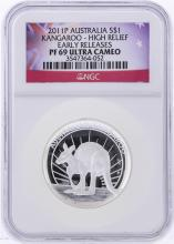 2011-P $1 Australia Kangaroo High Relief Early Release NGC PF69 Ultra Cameo