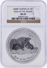 2008-P $1 Australia Year of the Mouse Silver Coin PCGS MS69