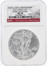 2011 $1 American Silver Eagle Coin NGC Graded MS70
