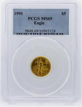 1991 $5 American Eagle Gold Coin PCGS Graded MS69