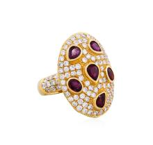 14KT Rose Gold 2.47ctw Ruby and Diamond Ring
