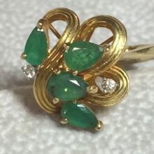 Ladies 14 karat Emerald and Diamond ring