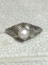 Antique Platinum and Pearl Ring