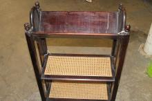 Wicker and oak bookcase