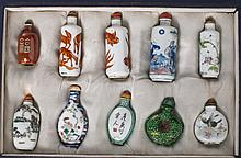 A SET OF TEN PORCELAIN SNUFF BOTTLES