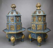 A PAIR OF LARGE CLOISONNE INCENSE BURNERS AND COVERS