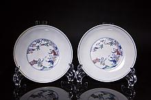 A PAIR OF DOUCAI DISHES