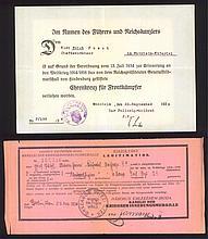 I. Weltkrieg 2 URKUNDEN Ehrenkreuz / Medaille Schwerter/Helm