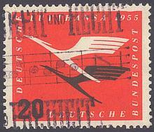 1955 BUND 20 Pfennig Lufthansa mit PLATTENFEHLER!NEU!