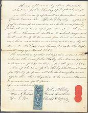 1865 DOKUMENT vom 18.März mit STEMPELMARKE George Washington