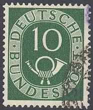 1951 Bund, 10 Pfennig Posthorn mit Plattenfehler I