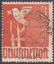 1947 Alliierte Besetzung, 3 Mark TAUBE mit PLATTENFEHLER