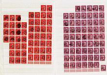1945 Deutsche Lokalausgabe Löbau, 6 und 12 Pfennig Hitler