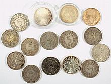 Kleine Sammlung von 15 fünf Mark Münzen