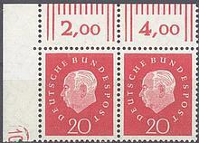 1959 Bund, 20 Pfennig Heuss III mit Druckerzeichen '10'