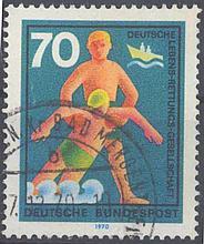 1970 Bund, 70 Pfennig Hifsdienste mit PLATTENFEHLER