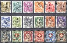1938 Schweiz, Dienstmarken Bundesbehörden, 'Kreuz'-Aufdruck