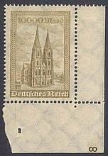 1923 Deutsches Reich, Kölner Dom, PLATTENNUMMER '8'