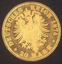 Deutsches Kaiserreich, Bayern, Ludwig II., 20 Mark 1874 D