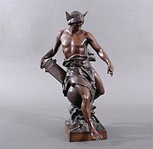 Bronze Skulptur Hermes Merkur Allegorie von Industrie und