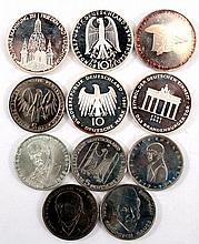 11 Gedenkmünzen BRD 5 DM, 10 DM