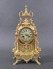 Portaluhr, Frankreich um 1890, Bronze feuervergoldet