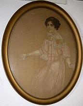 Alexander Frenz 1861-1941, 'Dame mit weißer Rose'