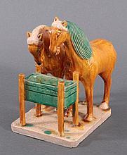 Keramik-Skulptur, 2 Pferde bei der Tränke.