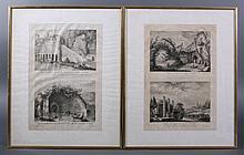 Kupferstiche. Genreszenen in Ruinenlandschaft um 1780-82