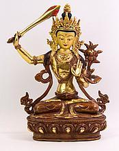 Bronze-Skulptur Manjushri, Tibet 20. Jh.