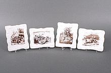 Vier Bildplatten mit Motiven nach Ludwig Richter. Meissen