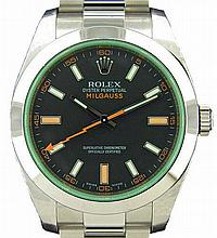 Stainless Steel Green Rolex Milgauss Watch #116400V