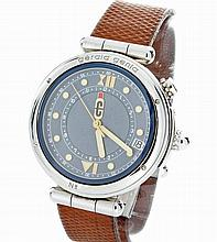 Stainless Steel Mens Gerald Genta Bartolomeo Alarm Watch