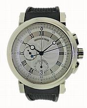 18k White Gold Breguet Marine Chronograph Watch 5827