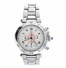 Stainless Steel Cartier Pasha Chronograph Watch Ref 1050