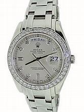 Platinum Mens Rolex Masterpiece Day-Date Diamond Watch