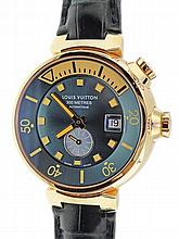 18k Yellow Gold Louis Vuitton Tambour Diver Watch Q103E