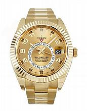 Yellow Gold Rolex Sky Dweller Calendar Two Time Zone Watch