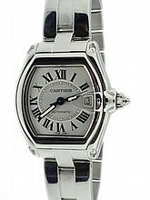 Stainless Steel Men's Cartier Roadster Silver Dial Watch