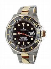 Stainless Steel & Yellow Gold Rolex Black Submariner Watch