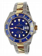 Stainless Steel & Yellow Gold Rolex Blue Submariner Watch