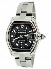 Stainless Steel Men's Cartier Roadster Black Dial Watch
