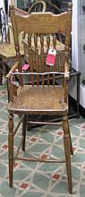 Antique oak high chair condition as found