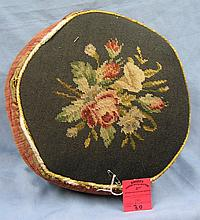 Antique floral decorated embroidered foot stool