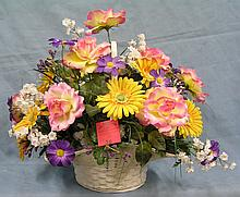 Spring flower basket arrangement