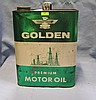Golden motor oil can with oil truck and oil derricks graphics