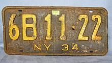 Antique license plate, NY